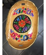 Vintage Hand-Painted Wooden Tray 19 1/2 Inches By 13 Inches Floral - $37.65