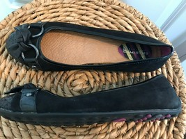 SPERRY TOP SIDER Black Glitter Bow Ballet Driving Flats Boat Shoes Womens Sz 6.5 - $24.75