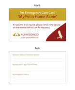 Pet Emergency Cards - Bird (Pack of 6) - $11.00