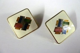 Pierced Earrings Siti Square Costume Multi Color Cloisonne Gold Plated Vintage - $16.63