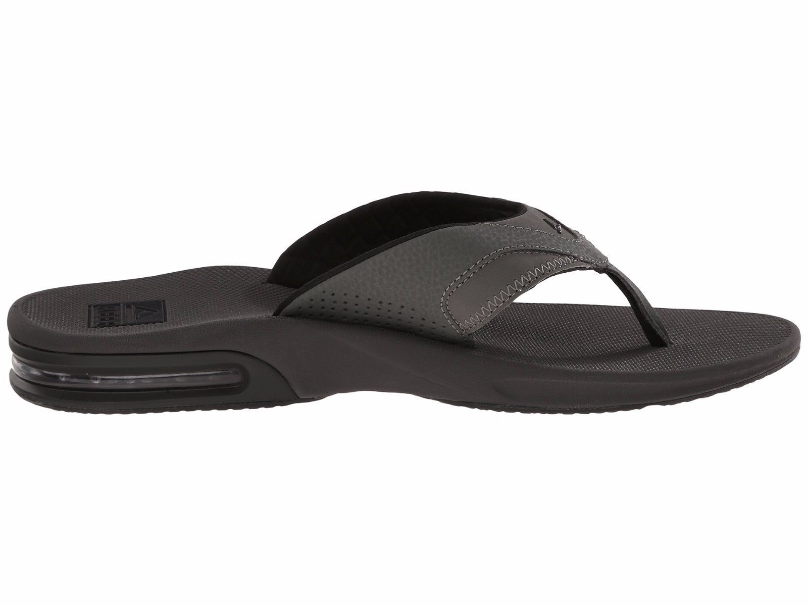 1bf8d461fc43 Reef Men s Fanning Bottle Opener Gray Black Thong Slide Flip Flop Size 4