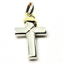 Cross Pendant in Yellow and White Gold 18K 750 Bicolor Crucifix Made in Italy image 2