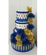 Royal Blue and Gold Elegant Themed Baby Boy Shower Decor 4 Tier Diaper Cake - $65.00