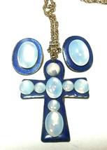 VINTAGE FAKE MOONSTONE GLASS BLUE ENAMEL CROSS NECKLACE PENDANT & CLIP E... - $115.00