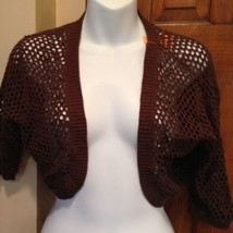 NWT Talbots Brown Beaded Shawl Short Sleeve Bolero Shrug Cardigan Sweater Sm 4 image 2