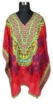 New Red  Women's Gorgeous Caftan~Short V-Neck Top~Kimono Tunic~Free Size Kaftan - $8.59