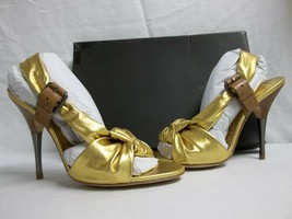 BCBG Max Azria Sz 8 M Chelsey Gold Sand Leather Open Toe Heels New Womens Shoes - $117.81