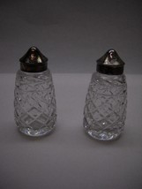 VINTAGE Waterford CRYSTAL Salt and Pepper SHAKERS Short ROUND  Diamond 3... - $80.43