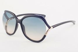 Tom Ford ANOUK Shiny Black / Blue Gradient Sunglasses TF578 01W 60mm - $195.02