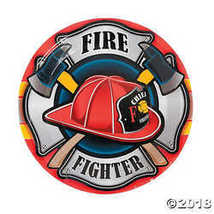 Firefighter Party Paper Dinner Plates - $3.61