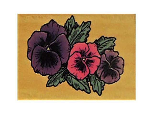 vintage Comotion Rubber Stamps 1993 Pansies Rubber Stamp #688