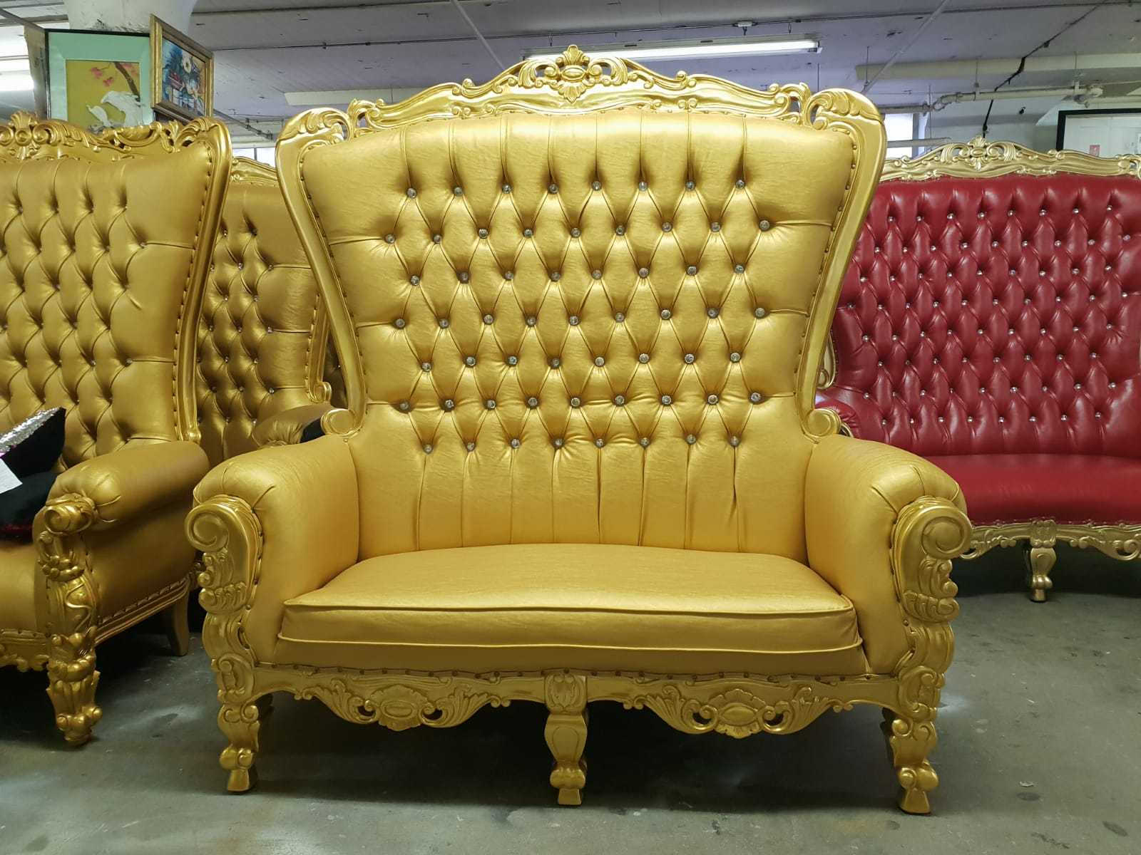 "Wedding Loveseat: ""Tiffany"" Queen Gothic Royal Party Loveseat Throne Chair"