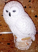 "Small Snowy Owl On Stump Statue Figurine 7"" Glittery - $21.77"