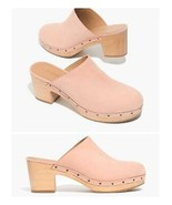 Madewell Women's Ayanna Nubuck Leather Clogs Wooden Soles Size 9.5 Pink - $119.59