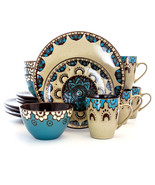 Elama Clay Heart 16 Piece Luxurious Stoneware Dinnerware with Complete S... - $84.50