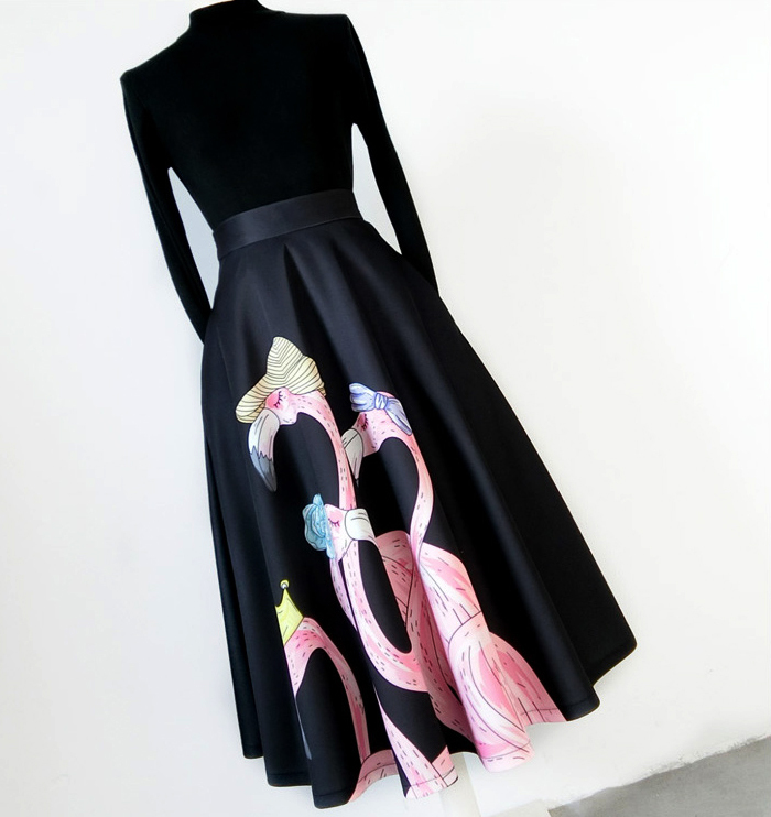 A-line Pleated Circle Skirt High Waisted Pleated Party Skirt Black Heart Pattern