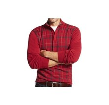 Tasso Elba Mens Red Long Sleeves Plaid 1/4 Zip Pullover Sweater XL  - $372,55 MXN