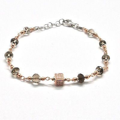 SILVER 925 BRACELET LAMINATED GOLD PINK WITH QUARTZ FUME AND ZIRCON CUBIC