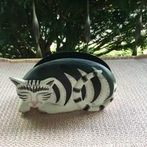 Wood Cat Figurine Napkin Letter Holder Painted Black & White Striped Fol... - $17.95