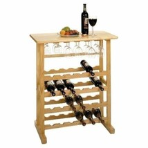 Natural Beech Wine Rack Floor Storage 24 Bottles Display Counter Glass H... - $99.89