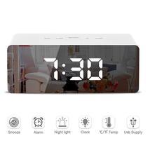 LED Mirror Alarm Clock Digital Snooze Table Clock Wake Up Light Electron... - $23.99