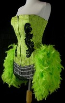S-Green Moulin Showgirl Cabaret Pin Up Burlesque Feather Costume Circus ... - $159.99