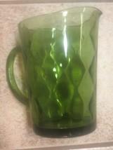"Hazel Atlas Continental Can Dark Green Beverage Pitcher 7-1/2"" x 6"" - $27.09"