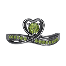Round Green Tourmaline 14k Black Gold Over 925 Silver Lovely Heart Promise Ring - $59.49
