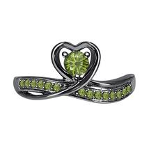 Round Green Tourmaline 14k Black Gold Over 925 Silver Lovely Heart Promise Ring - $50.57