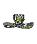 Round Green Tourmaline 14k Black Gold Over 925 Silver Lovely Heart Promi... - $50.57