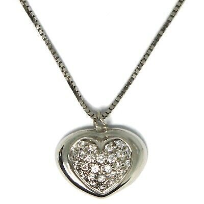 18K WHITE GOLD NECKLACE WITH DIAMONDS ROUNDED HEART PENDANT, VENETIAN CHAIN