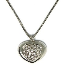 18K WHITE GOLD NECKLACE WITH DIAMONDS ROUNDED HEART PENDANT, VENETIAN CHAIN image 1