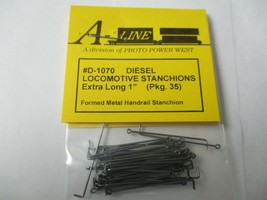 """A-Line # D-1070 Diesel Locomotive Stanchions Extra Long 1"""" Pack 35 HO Scale image 1"""