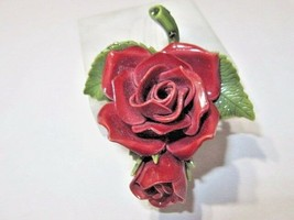 LARGE CELLULOID ENAMEL COVERED RAISED DOUBLE ROSE GREEN LEAF FLOWER PIN ... - $18.00