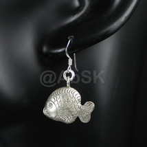 KAREN HILL Tribe 98% Handmade SILVER 36mm Fish with Bell Dangle Earrings... - $34.00