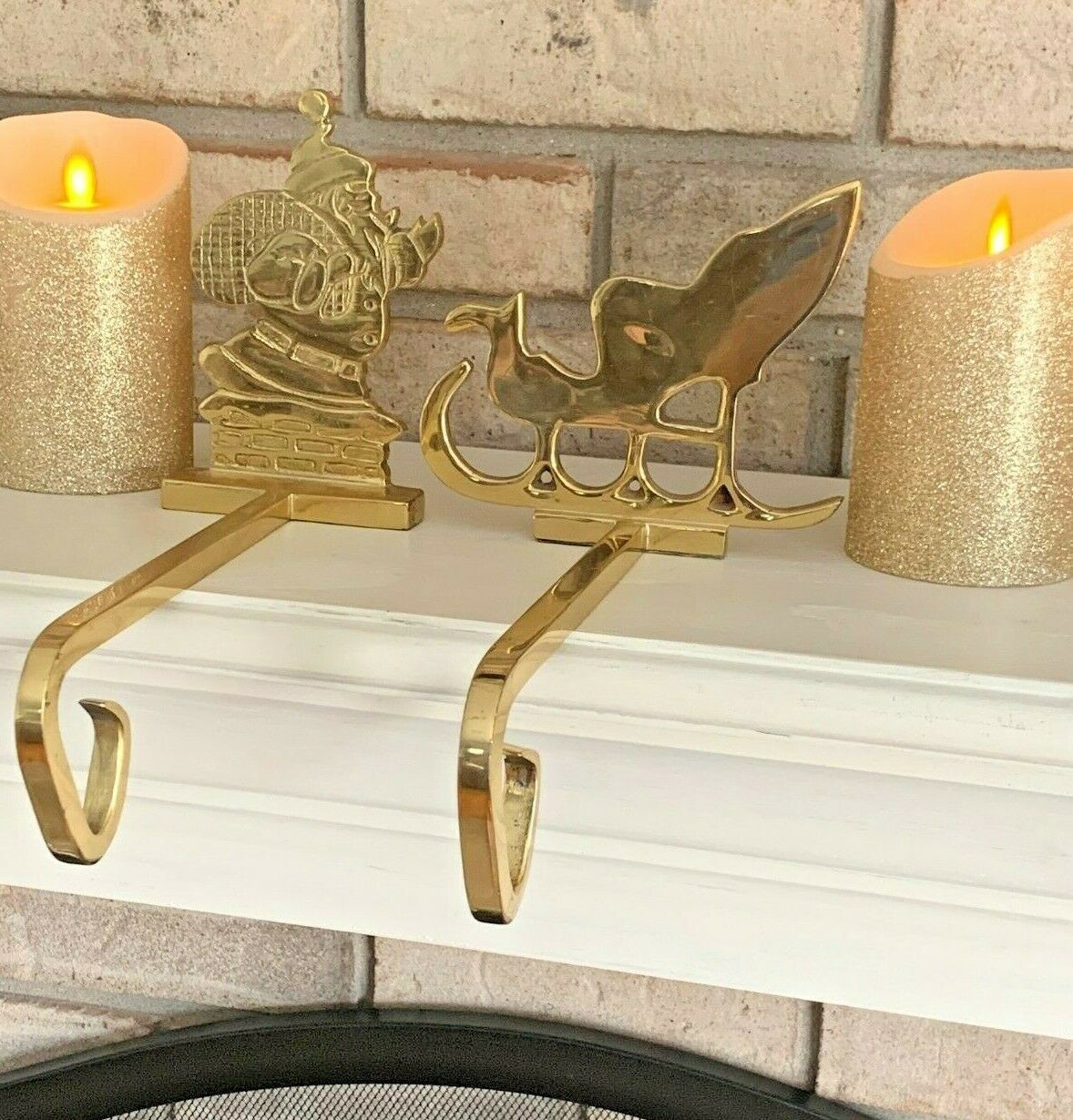 Primary image for Set of 2 Santa and Sleigh Brass Fireplace Stocking Holders Hooks