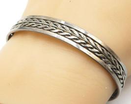 925 Sterling Silver - Vintage Dark Tone Wheat Pattern Cuff Bracelet - B4906 - $58.21