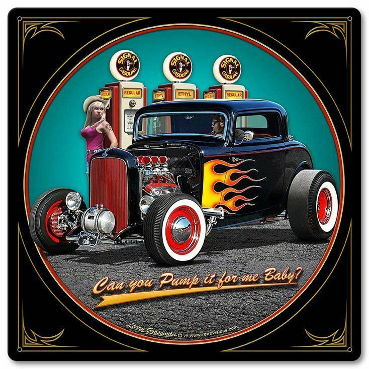 "Primary image for 1932 Deuce Coupe Pump It Up with Pin Up by Larry Grossman 12"" Square Metal Sign"