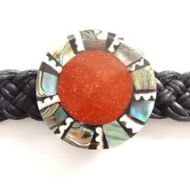 BLACK LEATHER WOVEN TIE ON FRIENDSHIP BRACELET WITH CORAL RED ABALONE SHELL DISC image 2