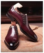 Men Maroon Derby Toe Oxford Party Wear Magnificent Leather Lace Up Shoes - $129.99 - $209.99