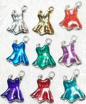 WOMAN'S PARTY DRESS FINE PEWTER PENDANT CHARM - 16x21x3mm