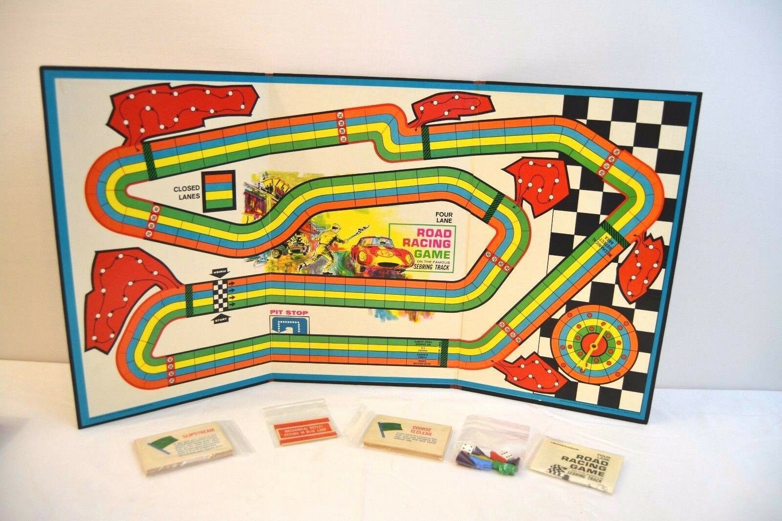 Transogram Rare Four Lane Road Racing Game on the Famous Sebring Track 1963  image 2