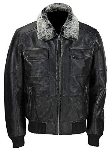 Mens A2 Aviator Pilot Fur Collar Air Force B3 Black Bomber Leather Jacket