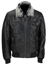 Mens A2 Aviator Pilot Fur Collar Air Force B3 Black Bomber Leather Jacket image 1