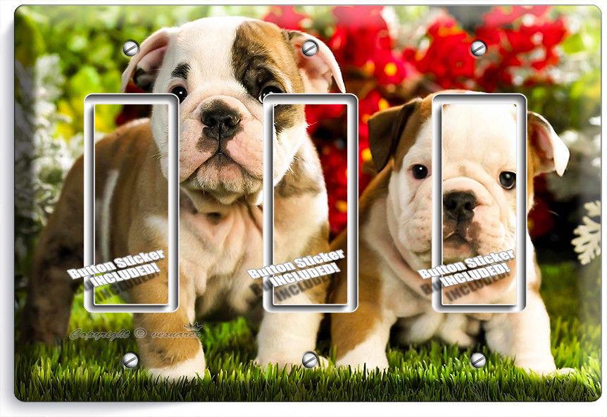 CUTE FRENCH BULLDOG PUPPY DOG TRIPLE GFI LIGHT SWITCH WALLPLATE COVER ROOM DECOR - $16.19