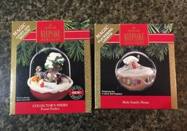 2 Hallmark Keepsake Ornaments Vintage 1990's Mile Family Home Forest Fro... - $14.80