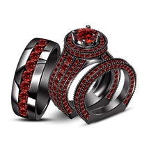 His & Hers 3 Pcs Black GP 925 Silver Round Cut Red Garnet Wedding Trio Ring Set - $184.99