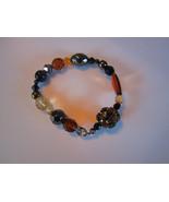 black & tan amber stretch bracelet ball glass vintage nice shines - $18.00