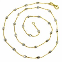 """18K YELLOW & WHITE GOLD ROLO ALTERNATE CHAIN NECKLACE 3mm FACETED OVAL BALLS 18"""" image 1"""