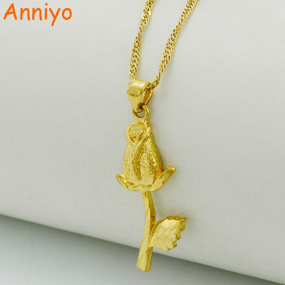Primary image for Flower Necklaces for Women.Gold Color & Copper.Rose Pendant Jewelry